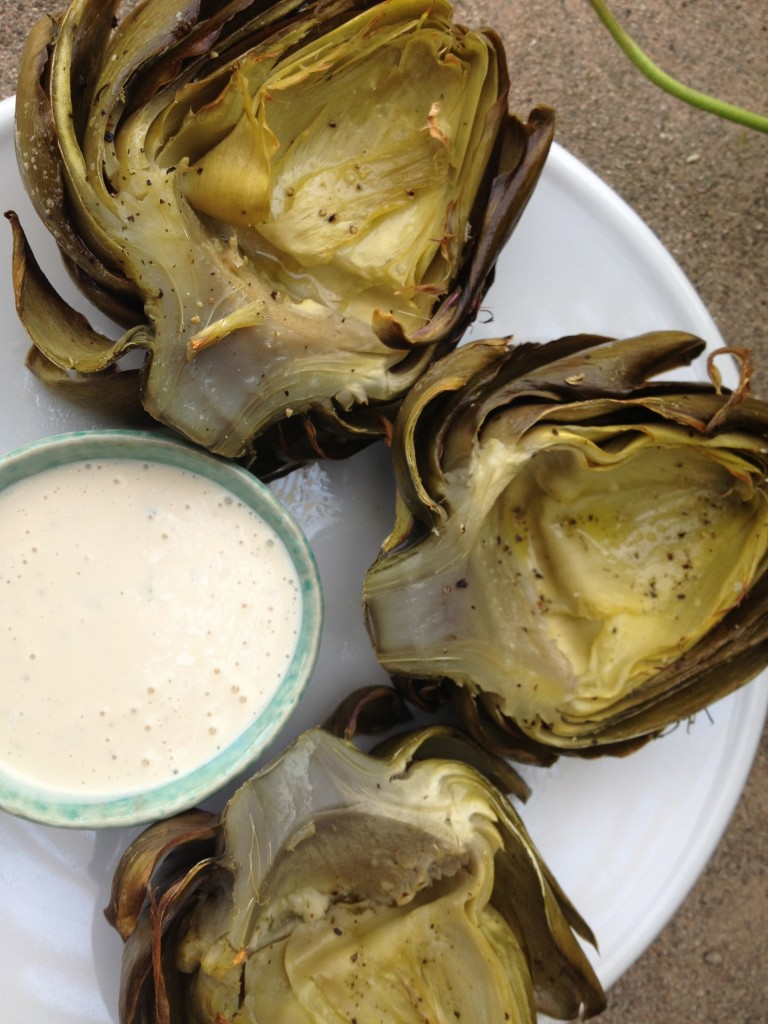Roasted Artichokes with Lemon Tarragon dipping sauce